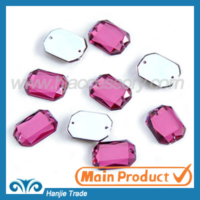 Rectangle shape light pink acrylic rhinestone