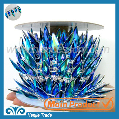 Blue AB crystal rhinestone cup chain trimming