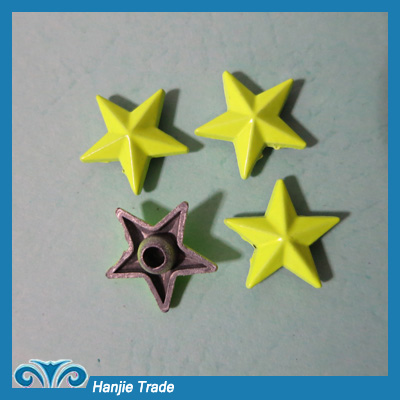 Wholesale 15mm Yellow Star Metal Spike Stud Rivet For the Jeans,Shoes