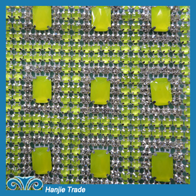 Wholesale New Popular Citrine Rhinestone Mesh Sheet Trimming
