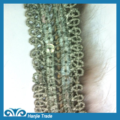 Hot-Sell White Feather Lace Trim With Metal Chain