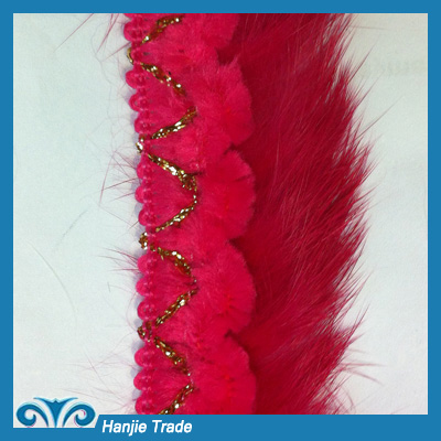 Hot-Sell Korean Gold Feather Lace Trim With Metal Chain